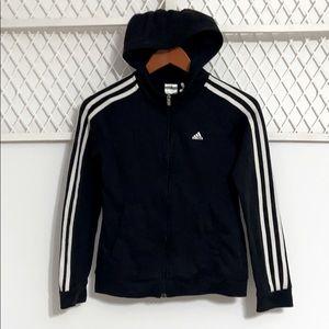 ADIDAS Long Sleeve Zip-up Sweatshirt Hoodie Black